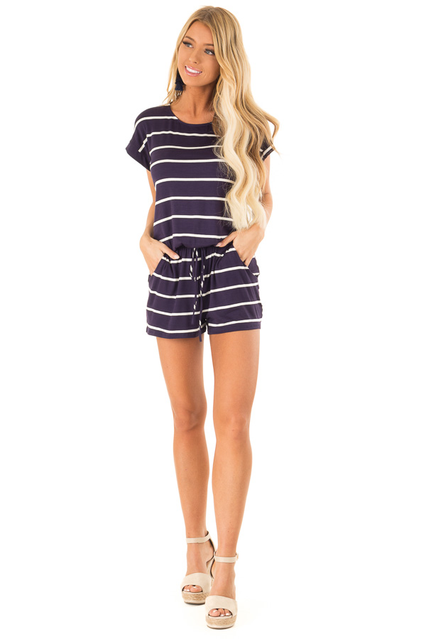 Navy and Ivory Striped Romper with Front Tie front full body