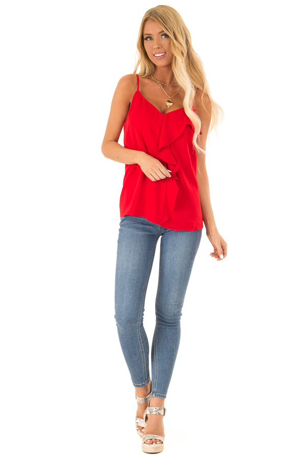 Candy Apple Red Tank Top with Asymmetrical Ruffle Detail front full body