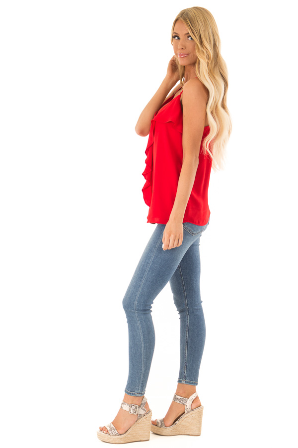Candy Apple Red Tank Top with Asymmetrical Ruffle Detail side full body