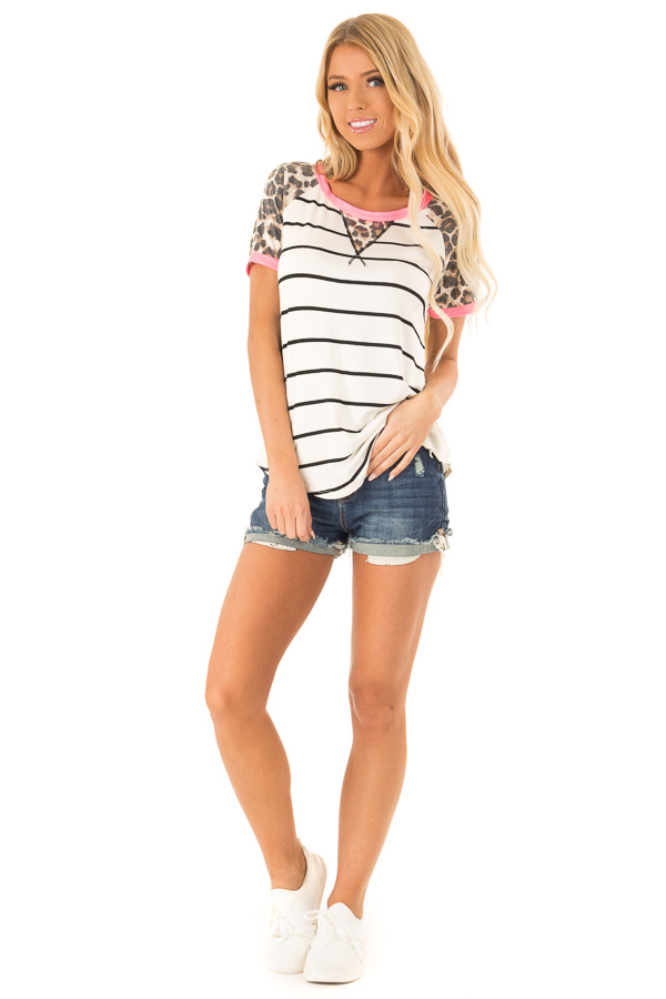 Ivory and Black Stripe Raglan Top with Cheetah Print Sleeves front full body
