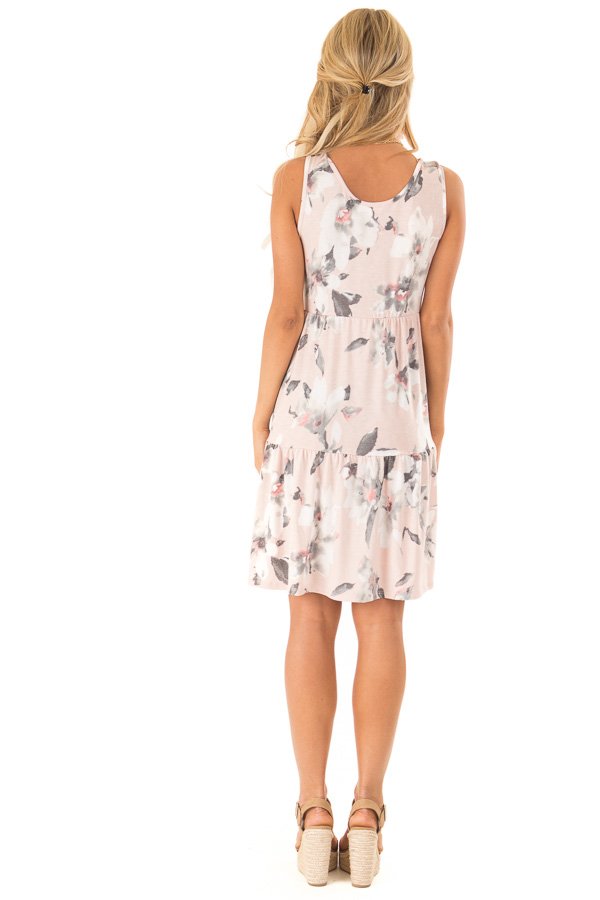 Pale Blush Floral Print Sleeveless Button Up Mini Dress back full body