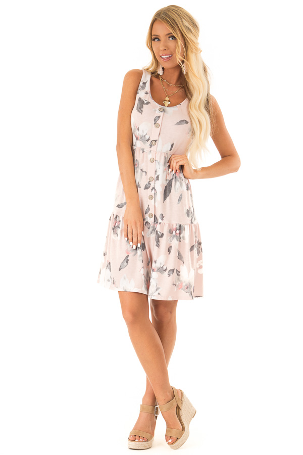 Pale Blush Floral Print Sleeveless Button Up Mini Dress front full body