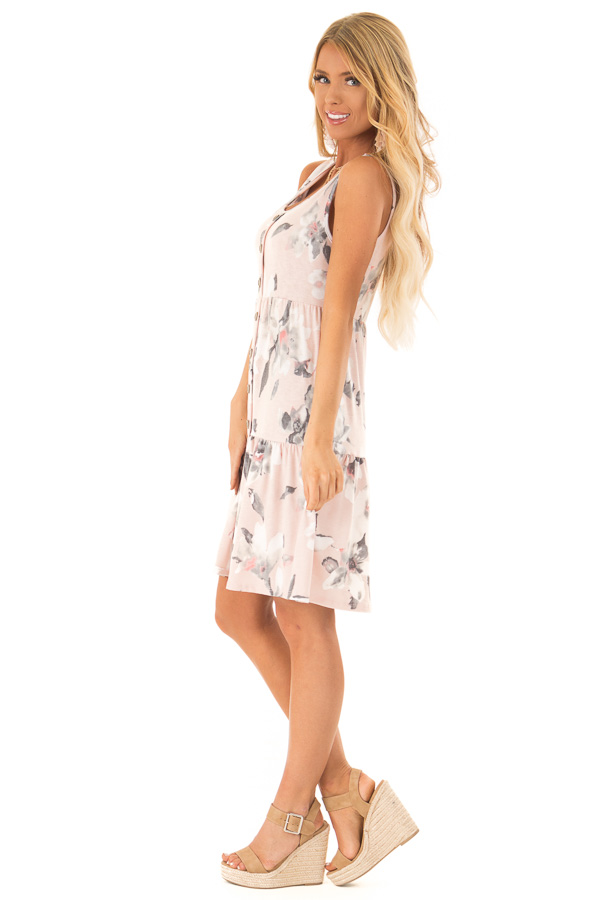 Pale Blush Floral Print Sleeveless Button Up Mini Dress side full body