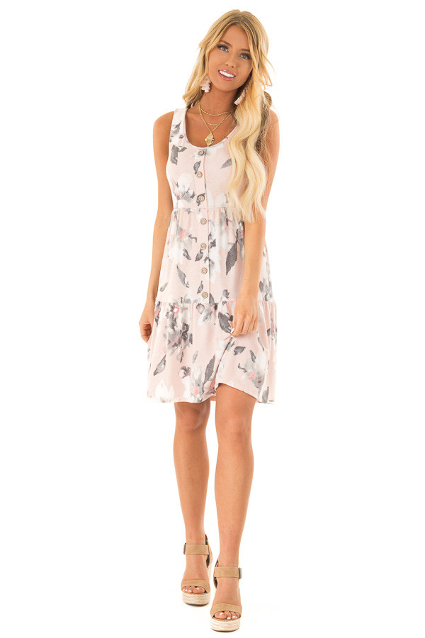 cd1d48864828 Pale Blush Floral Print Sleeveless Button Up Mini Dress front full body