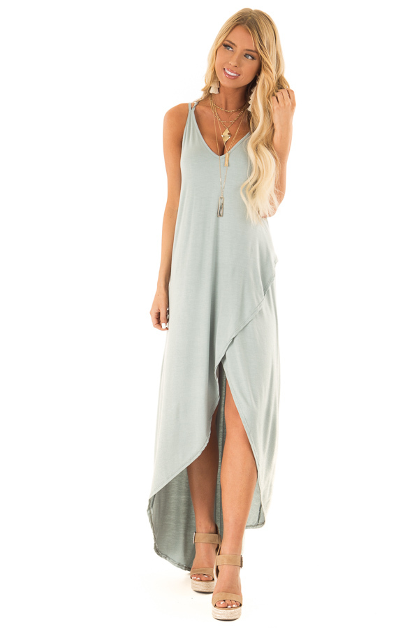 Dusty Sage High Low Dress with Criss Cross Strappy Back front full body