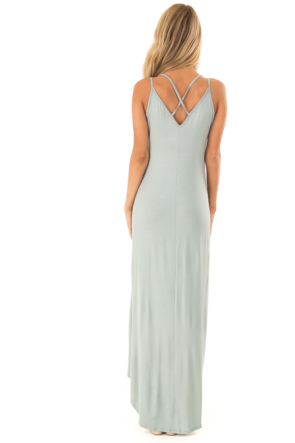 Dusty Sage High Low Dress with Criss Cross Strappy Back back full body