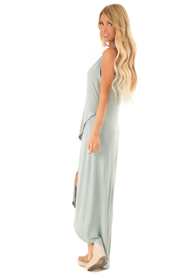 Dusty Sage High Low Dress with Criss Cross Strappy Back side full body