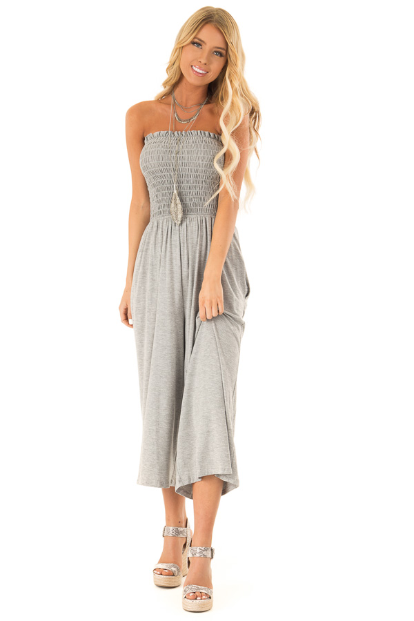 Stone Grey Strapless Smocked Jumpsuit with Wide Cropped Leg front full body