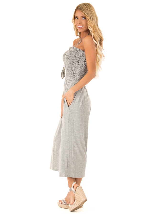 Stone Grey Strapless Smocked Jumpsuit with Wide Cropped Leg side full body