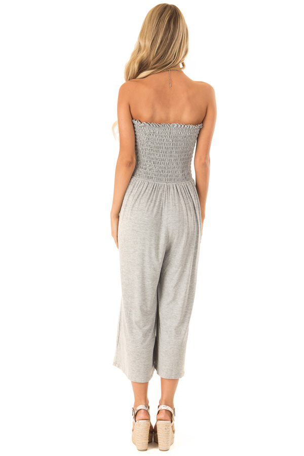 Stone Grey Strapless Smocked Jumpsuit with Wide Cropped Leg back full body