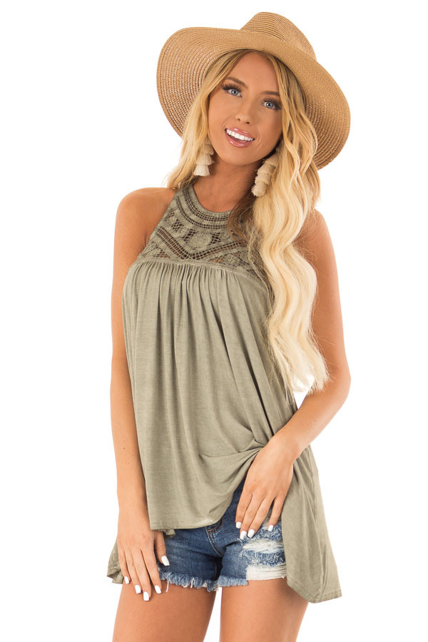 Olive Sleeveless Halter Tank Top with Crochet Details front close up