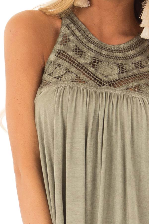 Olive Sleeveless Halter Tank Top with Crochet Details detail