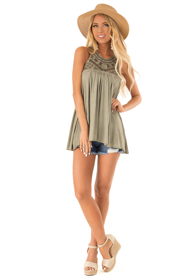 Olive Sleeveless Halter Tank Top with Crochet Details front full body