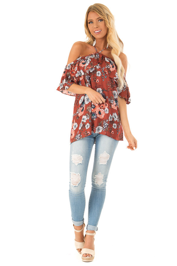 Rust Floral Off the Shoulder Short Sleeve Halter Top front full body