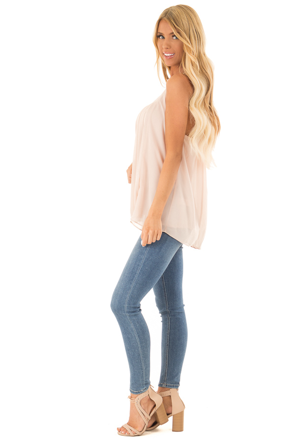Nude High Neck Pleated Tank Top side full body