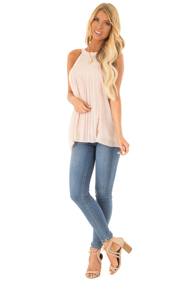 Nude High Neck Pleated Tank Top front full body