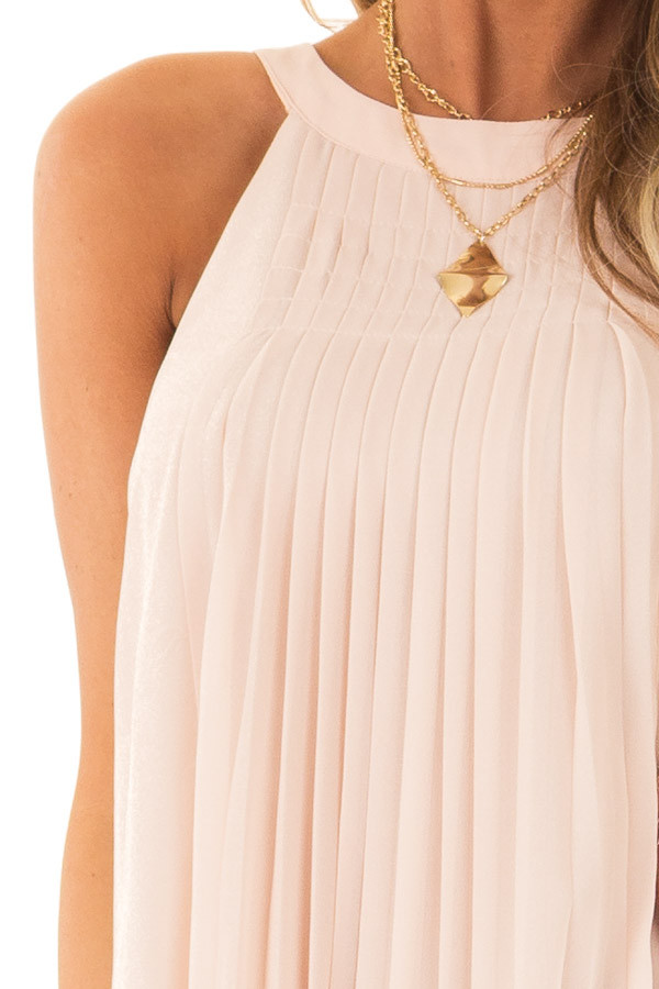 Nude High Neck Pleated Tank Top detail