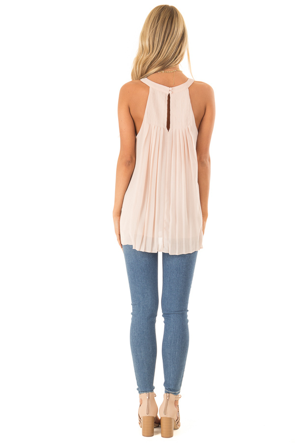 Nude High Neck Pleated Tank Top back full body