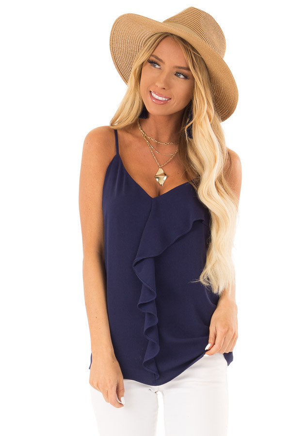 Indigo Tank Top with Asymmetrical Ruffle Detail front close up