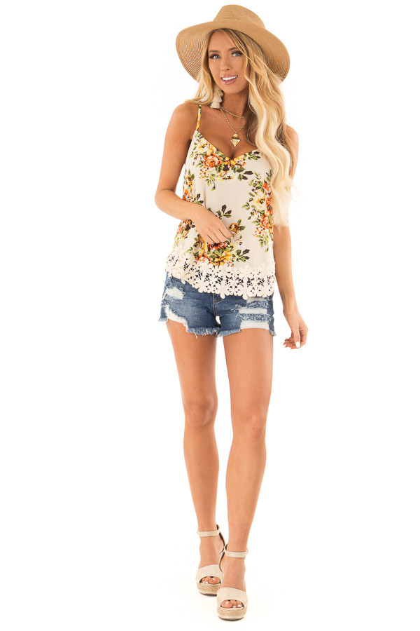 Ivory Floral V Neck Spaghetti Strap Tank with Lace Hemline front full body