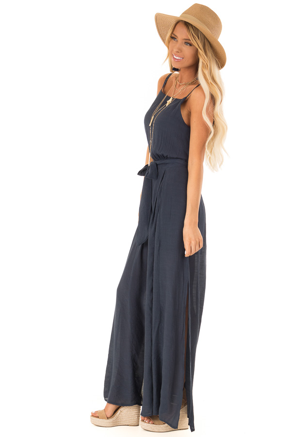 2c7c64e91cc ... Midnight Blue Jumpsuit with Wide Leg Side Slit Detail side full body ...