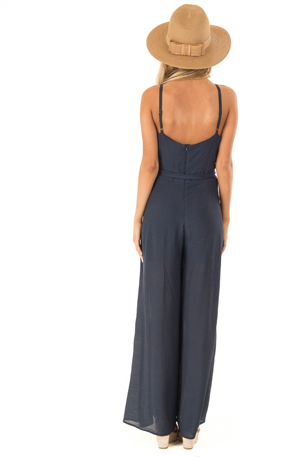 Midnight Blue Jumpsuit with Wide Leg Side Slit Detail back full body
