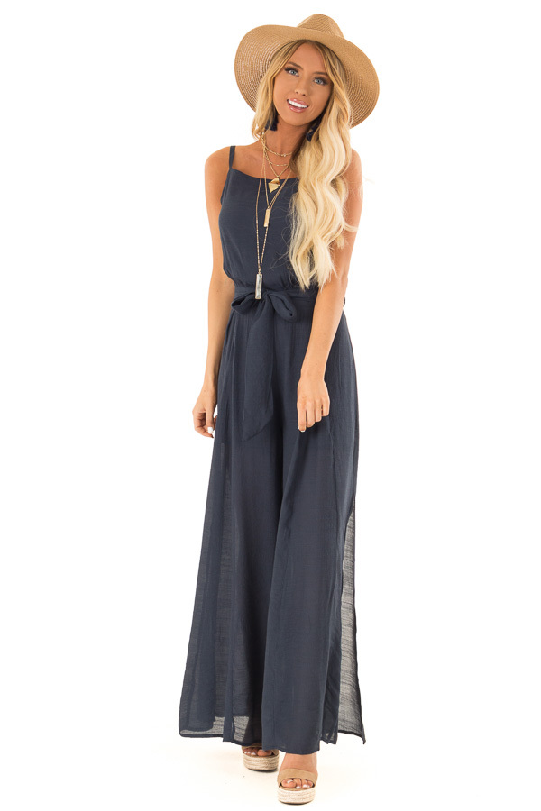 Midnight Blue Jumpsuit with Wide Leg Side Slit Detail front full body