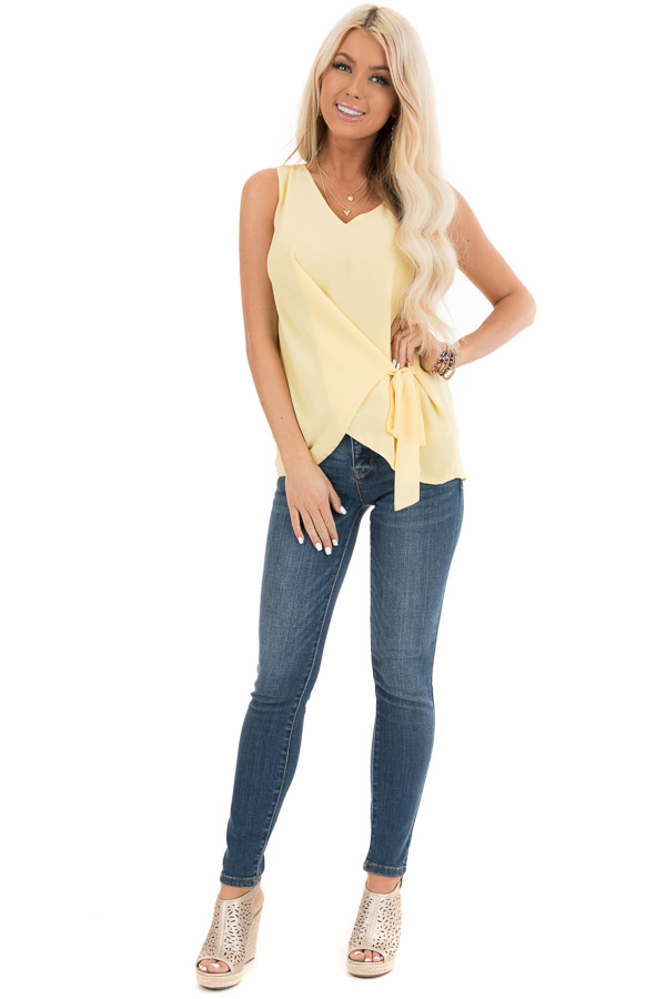 Pale Yellow V Neck Tank with Side Tie Detail front full body