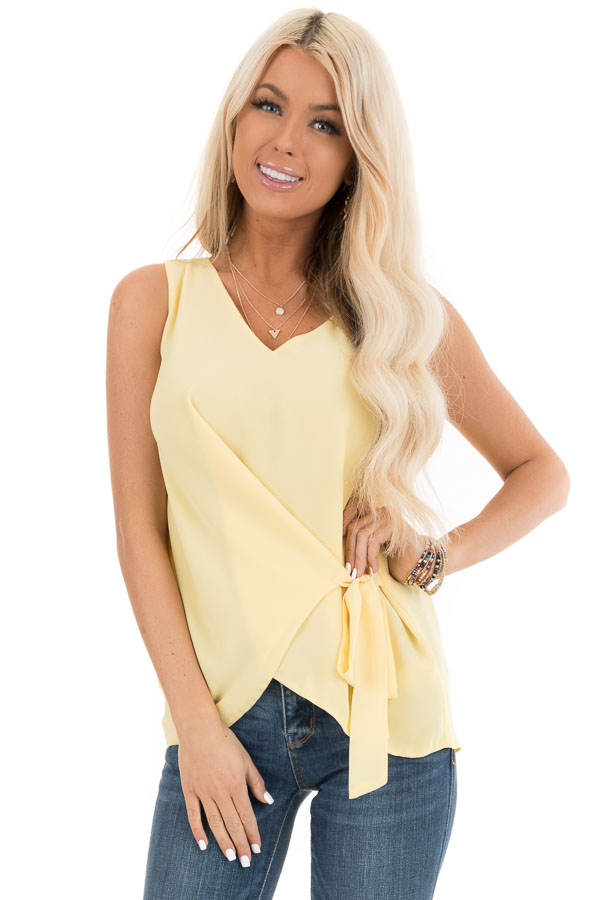 Pale Yellow V Neck Tank with Side Tie Detail front close up
