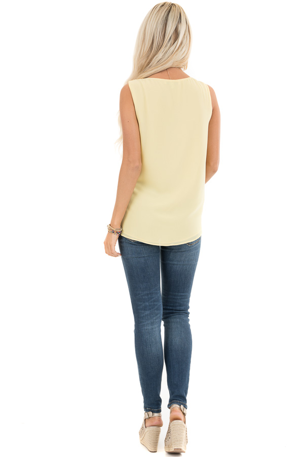 Pale Yellow V Neck Tank with Side Tie Detail back full body