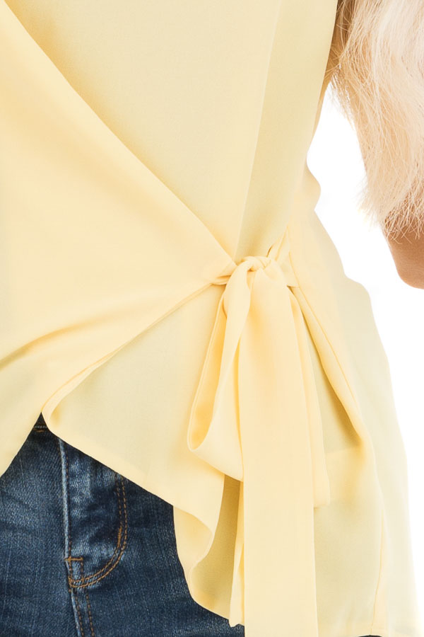 Pale Yellow V Neck Tank with Side Tie Detail detail