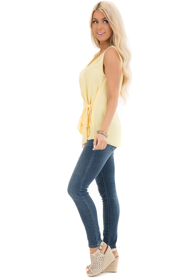 Pale Yellow V Neck Tank with Side Tie Detail side full body