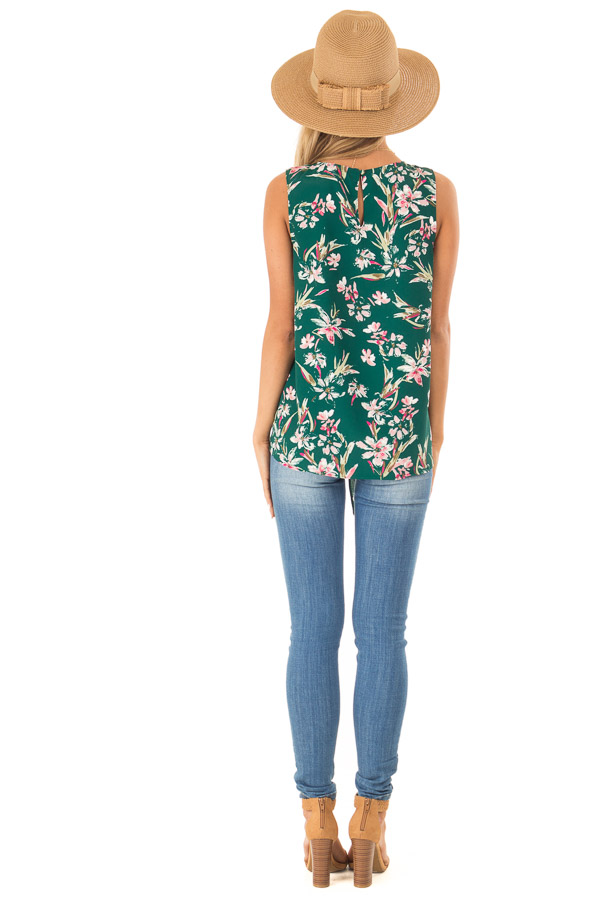 Pine Needle and Floral V Neck Tank Top with Side Tie Detail back full body