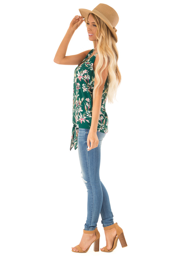 Pine Needle and Floral V Neck Tank Top with Side Tie Detail side full body