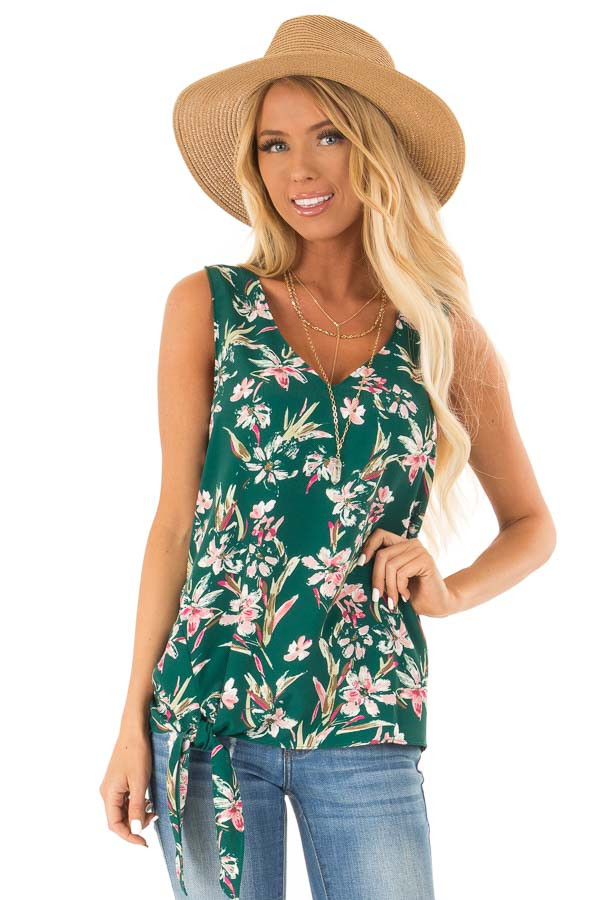 Pine Needle and Floral V Neck Tank Top with Side Tie Detail front close up
