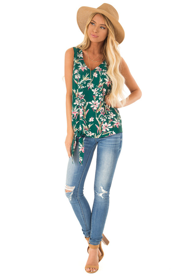 Pine Needle and Floral V Neck Tank Top with Side Tie Detail front full body