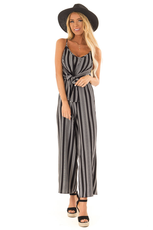 Obsidian and Ivory Striped Capri Length Jumpsuit with Tie front full body