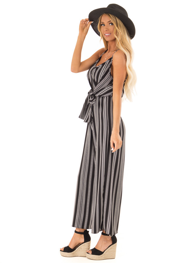Obsidian and Ivory Striped Capri Length Jumpsuit with Tie side full body