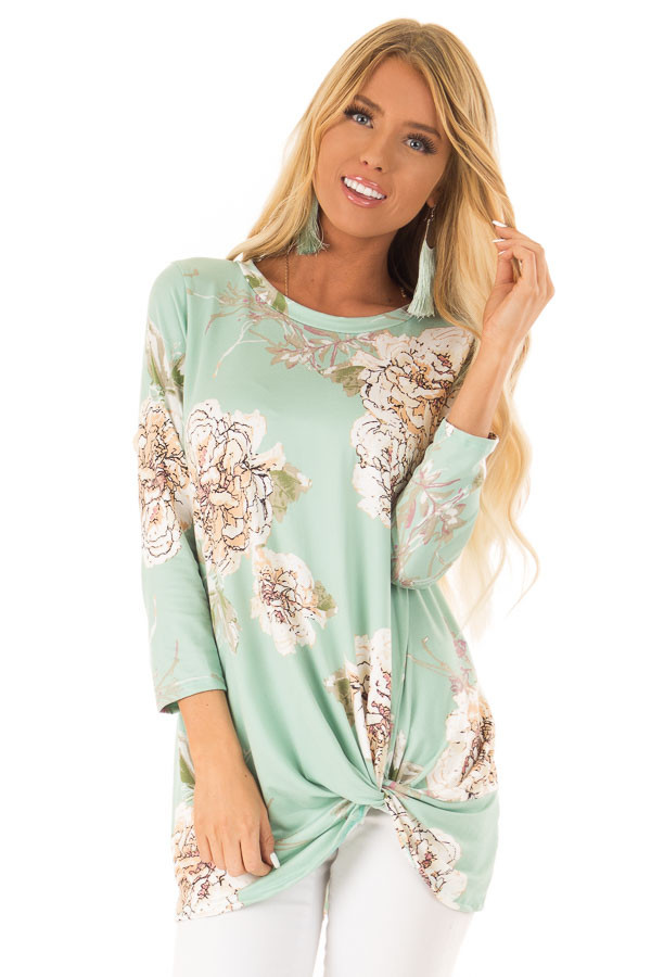 0ce7957b6d0 Mint Floral Print 3/4 Sleeve Tunic Top with Front Twist - Lime Lush ...