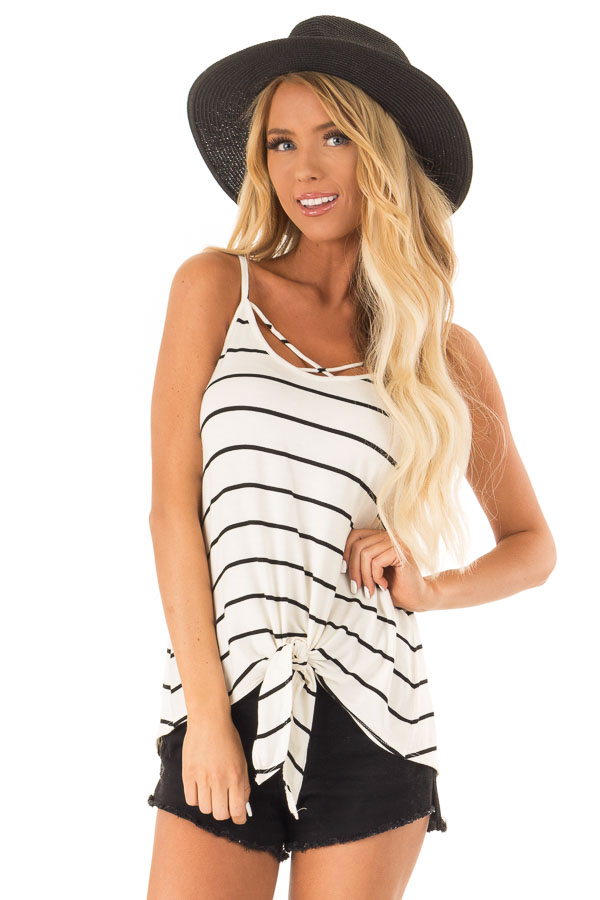 Cream Criss Cross Striped Top with Front Tie front close up