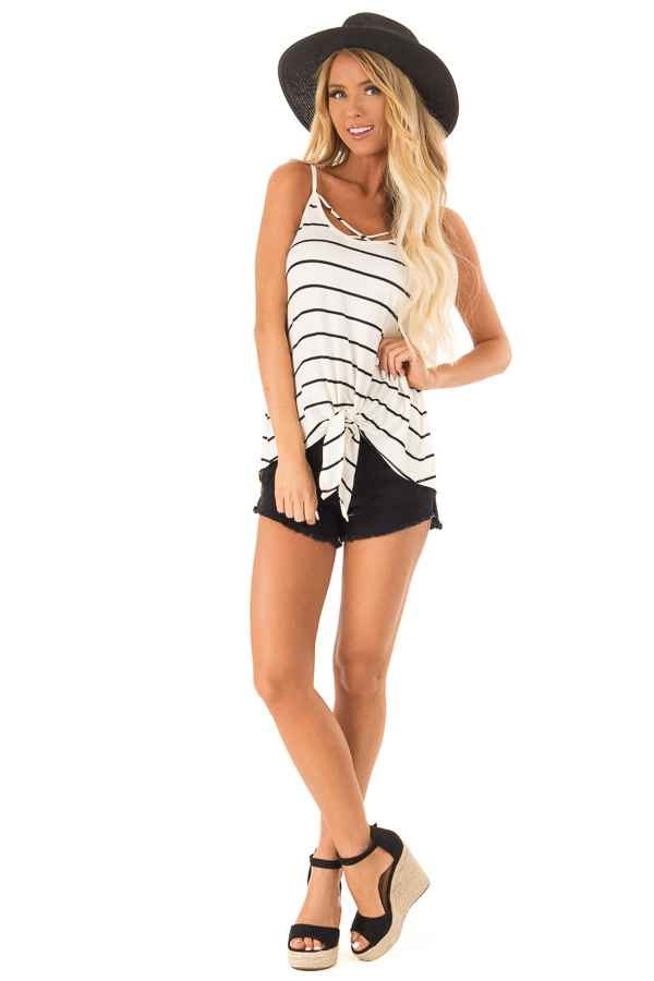 Cream Criss Cross Striped Top with Front Tie front full body