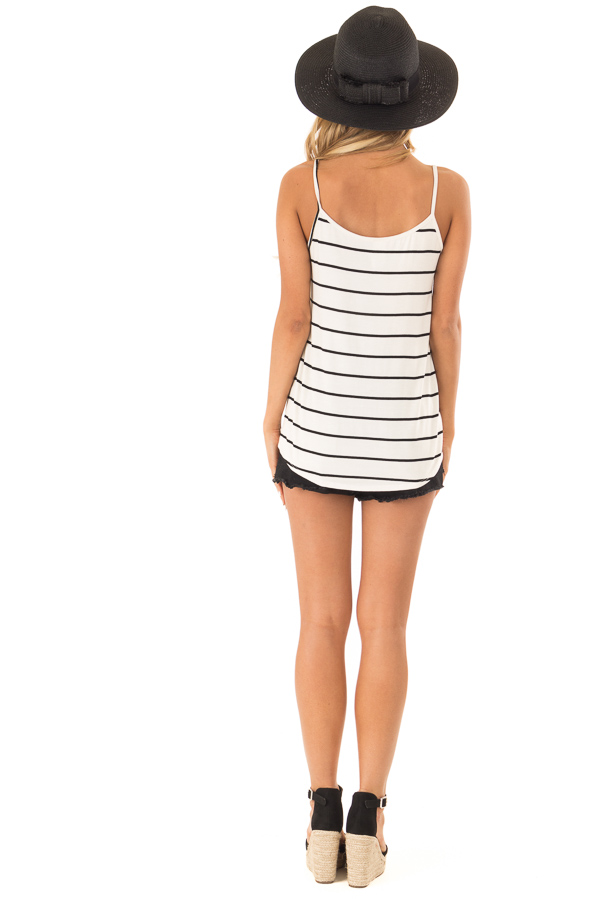 Cream Criss Cross Striped Top with Front Tie back full body