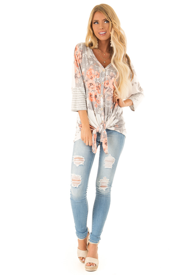 Cloud Grey and Ivory Floral Print Button Up Top with Tie front full body