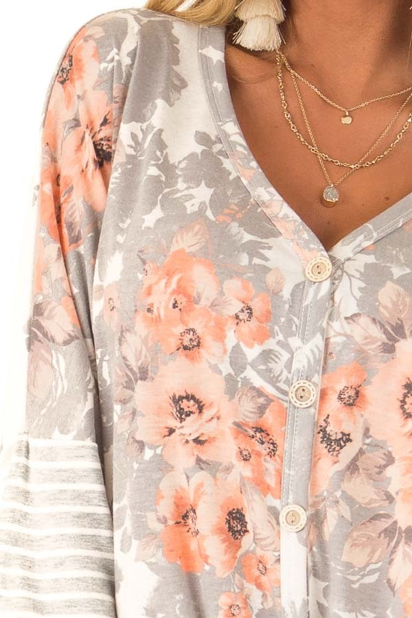 Cloud Grey and Ivory Floral Print Button Up Top with Tie  detail