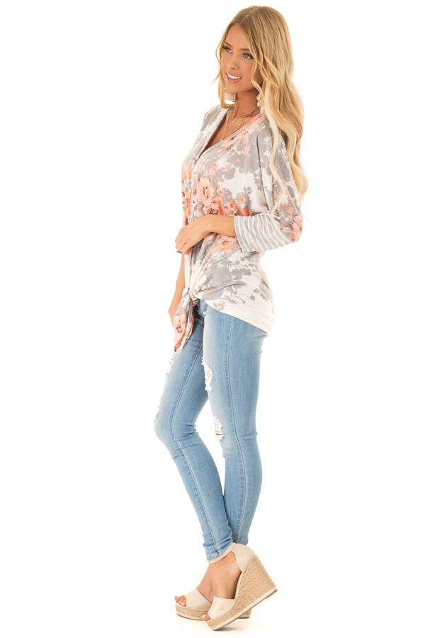 Cloud Grey and Ivory Floral Print Button Up Top with Tie side full body