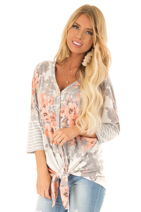 Cloud Grey and Ivory Floral Print Button Up Top with Tie front close up