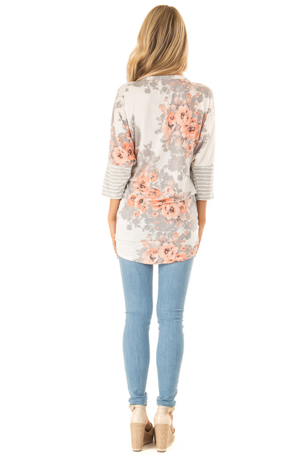 Cloud Grey and Ivory Floral Print Button Up Top with Tie back full body