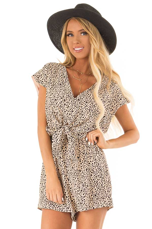 Peach Cheetah Print Cap Sleeve Romper with Front Tie front close up