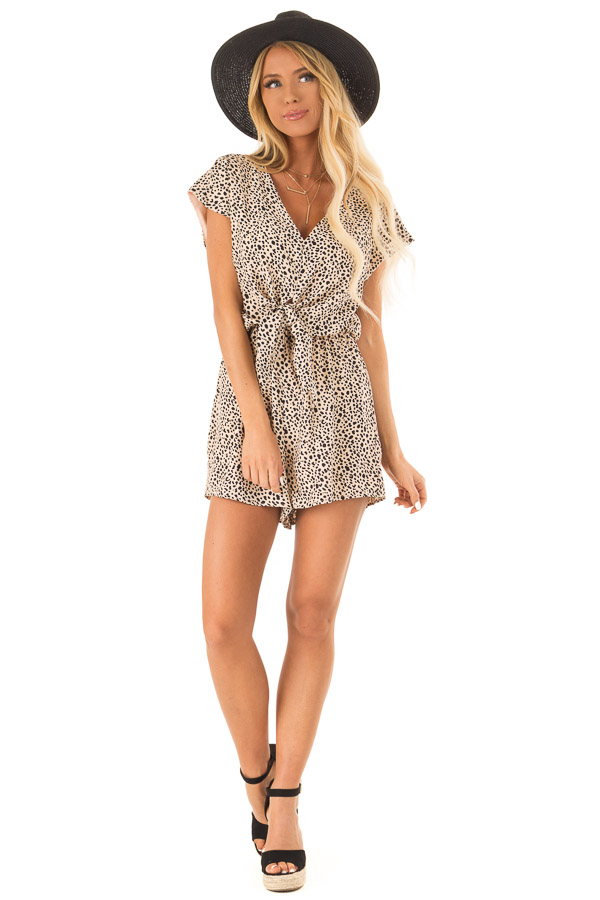 Peach Cheetah Print Cap Sleeve Romper with Front Tie front full body