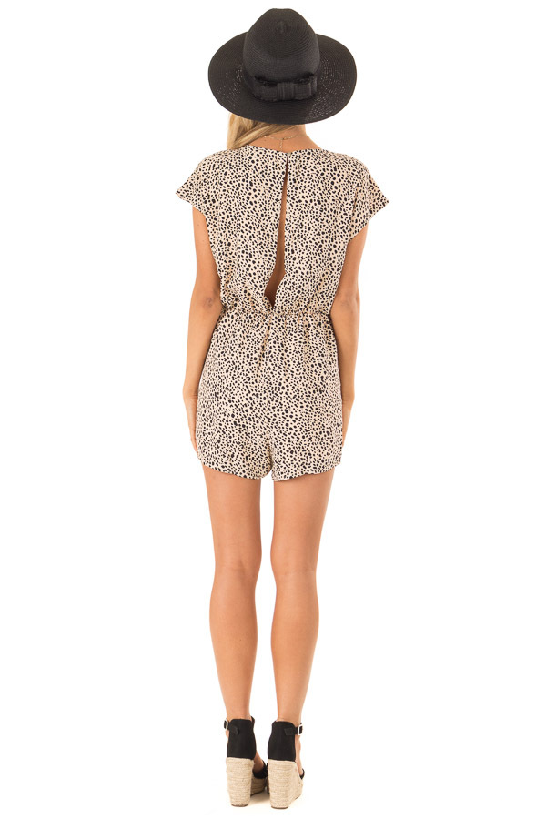 Peach Cheetah Print Cap Sleeve Romper with Front Tie back full body